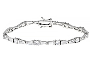 Pre-Owned White Cubic Zirconia Rhodium Over Sterling Silver Tennis Bracelet 13.08ctw