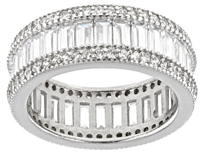 Pre-Owned White Cubic Zirconia Rhodium Over Sterling Silver Eternity Band 5.00ctw