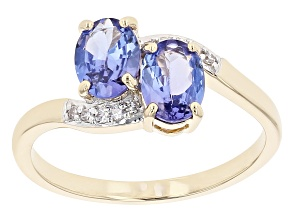 Pre-Owned Oval Tanzanite With Round Diamond 10K Yellow Gold Ring 1.33ctw