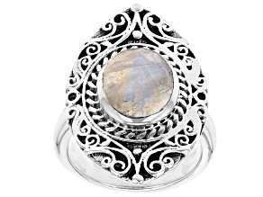 Pre-Owned 2.58ct Rainbow Moonstone Rhodium Over Silver Ring