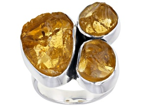 Pre-Owned Rough Citrine Sterling Silver Ring