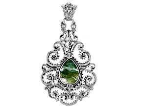 Pre-Owned Green Opal Cabochon Sterling Silver Pendant