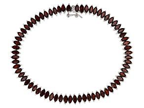 Pre-Owned Red Garnet Sterling Silver Tennis Bracelet 9.10ctw