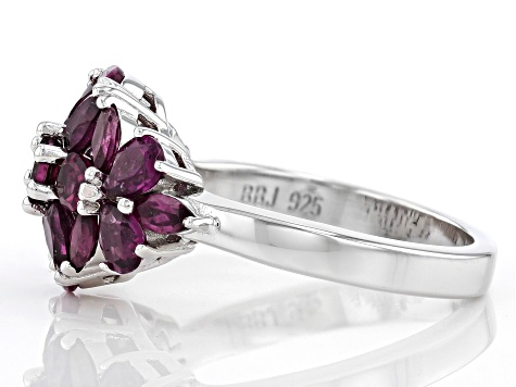 Pre-Owned Purple Rhodolite Rhodium Over Sterling Silver Ring 2.54ctw