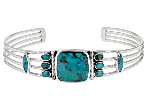 Pre-Owned Blue Turquoise Silver Cuff Bracelet