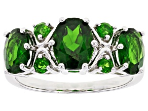 Pre-Owned Green Chrome Diopside Rhodium Over Sterling Silver Band Ring 3.15ctw