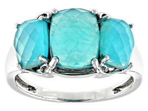 Pre-Owned Blue Amazonite Rhodium Over Sterling Silver 3-Stone Ring