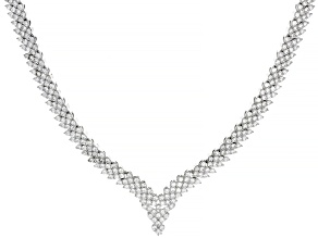 Pre-Owned White Cubic Zirconia Rhodium Over Sterling Silver Tennis Necklace 14.17ctw