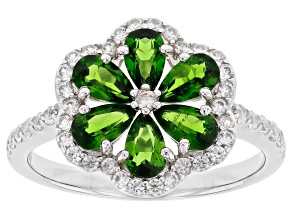 Pre-Owned Chrome Diopside and Rhodium Over Sterling Silver Ring 1.69ctw