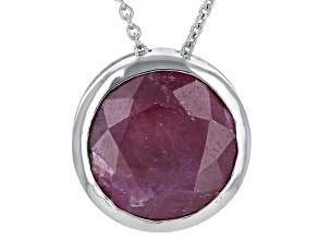 Pre-Owned Red Ruby Rhodium Over Sterling Silver Center Design Solitaire Pendant with Chain
