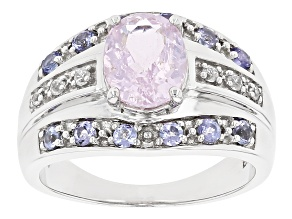 Pre-Owned Kunzite Rhodium Over Sterling Silver Ring 2.59ctw