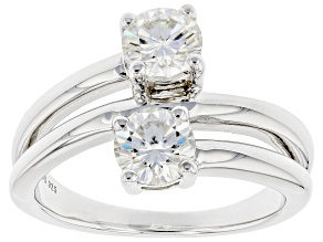 Pre-Owned Moissanite Platineve Two Stone Ring 1.20ctw DEW.