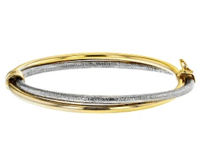 Pre-Owned Moda Al Massimo™ 18K Two-Tone Over Bronze Diamond-Cut, Entwined, Polished Oval 7 Inch Brac