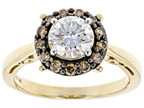 Pre-Owned Moissanite and Champagne Diamond 14k Yellow Gold Ring 1.00ct DEW.