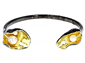Pre-Owned 3-7mm White Cultured Freshwater Pearl Black Rhodium & 14k Yellow Gold Over Sterling Silver