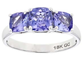 Pre-Owned Blue Tanzanite Rhdoium Over 18K White Gold 3-Stone Ring 2.05ctw
