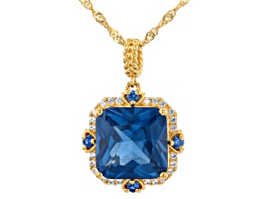 Pre-Owned Blue Lab Created Spinel 18k Yellow Gold Over Silver Pendant With Chain 7.21ctw
