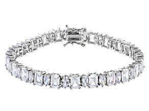 Pre-Owned White Cubic Zirconia Rhodium Over Sterling Silver Bracelet 31.56ctw
