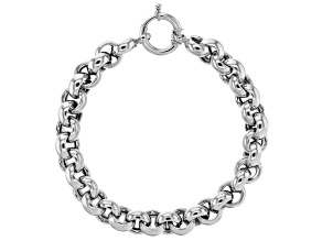 Pre-Owned Rhodium Over Sterling Silver 10MM High Polished Bold Rolo Link 8 Inch Bracelet