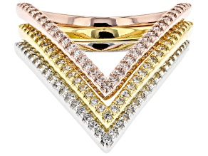Pre-Owned White Cubic Zirconia Rhodium And 18K Yellow And Rose Gold Over Sterling Silver Band Rings