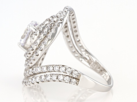 Pre-Owned Cubic Zirconia Rhodium Over Sterling Silver Ring 6.10ctw