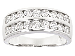Pre-Owned White Zircon Rhodium Over Sterling Silver Band Ring 1.53ctw