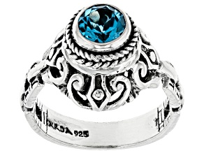 Pre-Owned Swiss Blue Topaz Sterling Silver Ring 0.94ct