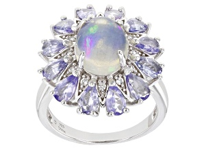 Pre-Owned Opal Rhodium Over Sterling Silver Ring 10x8mm