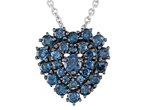 Pre-Owned Blue Diamond Rhodium Over Sterling Silver Heart Cluster Pendant With Chain 0.75ctw