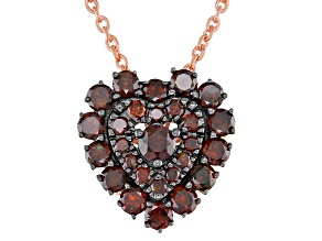 Pre-Owned Red Diamond 14K Rose Gold Over Sterling Silver Heart Cluster Pendant With Chain 0.75ctw