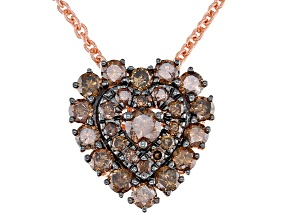 Pre-Owned Champagne Diamond 14K Rose Gold Over Sterling Silver Heart Cluster Pendant With Chain 0.75