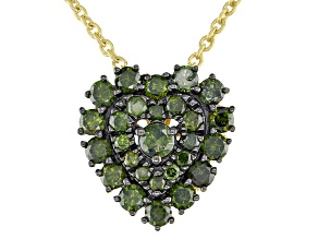 Pre-Owned Green Diamond 14K Yellow Gold Over Sterling Silver Heart Cluster Pendant With Chain 0.75ct