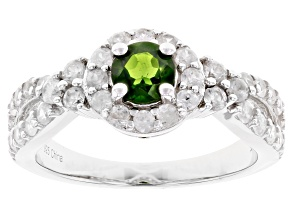 Pre-Owned Chrome Diopside Rhodium Over Silver Ring 1.55ctw
