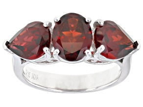 Pre-Owned Red Garnet Rhodium Over Sterling Silver Ring 5.50ctw