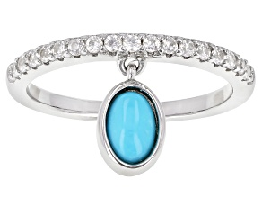 Pre-Owned Blue Sleeping Beauty Turquoise Rhodium Over Sterling Silver Band Ring .40ctw