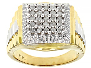 Pre-Owned White Diamond 18K Yellow Gold Over Sterling Silver Mens Ring 0.75ctw