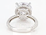Pre-Owned White Cubic Zirconia Rhoduim Over Sterling Silver Ring 12.73ctw