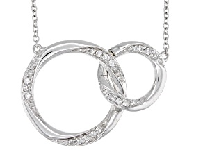 Pre-Owned White Diamond 10K White Gold Convertible Interlocking Circle Necklace 0.17ctw