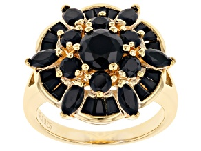 Pre-Owned Black Spinel 18K Yellow Gold Over Sterling Silver Ring 2.54ctw