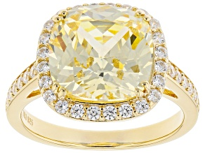 Pre-Owned Canary And White Cubic Zirconia 18K Yellow Gold Over Sterling Silver Ring 11.13ctw