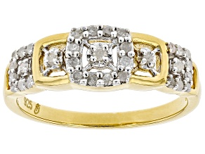 Pre-Owned White Diamond 14k Yellow Gold Over Sterling Silver Band Ring 0.25ctw
