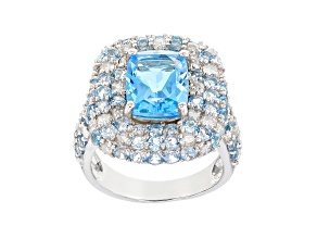 Pre-Owned Blue Topaz Rhodium Over Silver Ring 6.35ctw