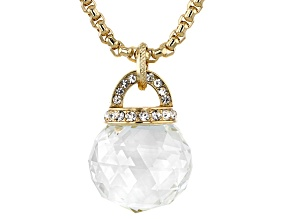 Pre-Owned  White Crystal Gold Tone Drop Necklace