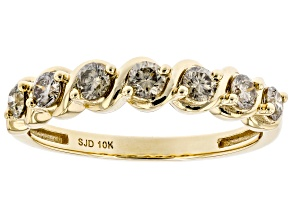 Pre-Owned Champagne Diamond 10k Yellow Gold Band Ring