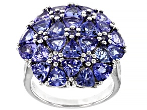 Pre-Owned Blue Tanzanite Rhodium Over Silver Ring 5.34ctw