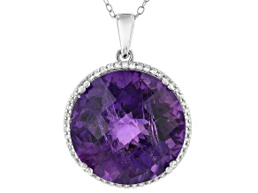 Pre-Owned Amethyst Rhodium Over Silver Pendant With Chain 17.75ctw