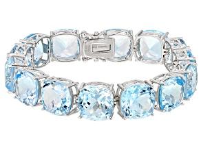 Pre-Owned  Blue Topaz Rhodium Over Sterling Silver Bracelet 70.00ctw