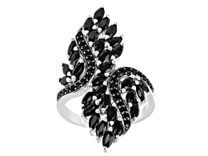 Pre-Owned Black Spinel Rhodium Over Sterling Silver Ring 2.40ctw