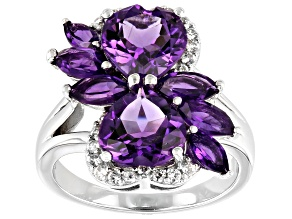 Pre-Owned Purple Amethyst Rhodium Over Sterling Silver Ring 4.00ctw