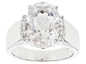 Pre-Owned White Crystal Quartz Rhodium Over Sterling Silver Ring 5.27ctw